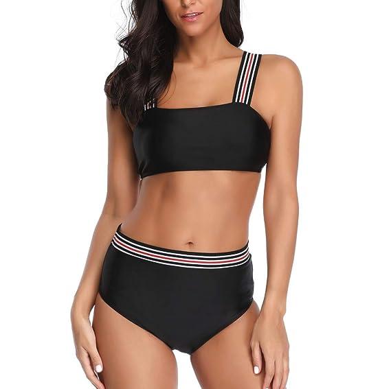 SCHOLIEBEN Bikini Damen Set Sexy Sport High Waist Push Up Bandeau BH Bustier Triangle Retro Schöne Teenager Mädchen Bademode