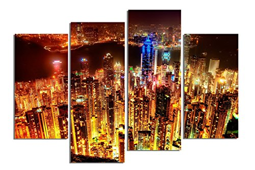 Startonight Glass Wall Art Acrylic Decor Set Hong Kong At Night, 5 Stars Gift and a Contemporary Clock Set of 4 Total 39.37 X 47.2 Inch 100% Original Artwork the Ultimate Wall (Halloween Decor Hobby Lobby)