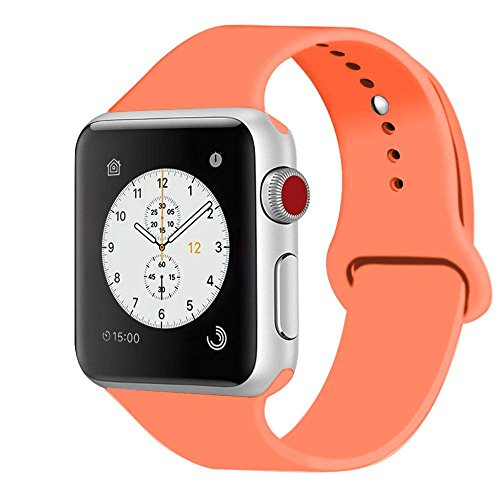 iDon Smart Watch Sport Band, Soft Silicone Replacement Sports Band Compatible for Apple Watch Band 42mm 2017 Series 3 Series 2 Series 1 All Models(S/M, Apricot)