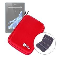 DURAGADGET Etui coque rigide couleur rouge résistant pour tablette Acer Giordano B1-A71, Logicom TabLife 70 et Lenco CoolTab 70 7 pouces
