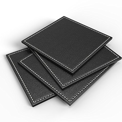 Luxurious Drink Coasters by Blu-Pier - [Set of 4] Elegant (Faux Leather Coaster Set)