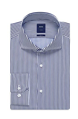 Hugo Boss Men's T-Christo' White/Blue Slim Fit Striped Cotton Dress Shirt 16, 34/35