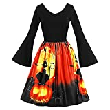 DressLily Women Dress V Neck Flare Long Sleeve Printed Halloween Vintage Party Dresses Black XL