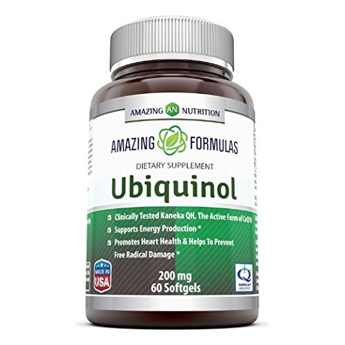 Amazing Nutrition Amazing Formulas Ubiquinol Dietary Supplement – 200mg Kaneka CoQ10 Coenzyme Q10-60 Softgels – Antioxidant Protection – Provides Energy Support