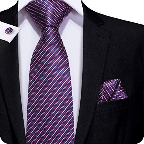 (Hi-Tie Purple Plaids Woven Silk Tie Necktie Handkerchief Cufflinks Set for men )