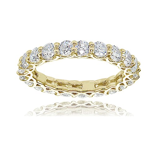 Hoops & Loops Yellow Gold Flashed Sterling Silver Cubic Zirconia 3mm Round-cut Eternity Band Ring by Hoops & Loops