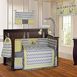 BabyFad Elephant Chevron Yellow Unisex 10 Piece Baby Crib Bedding Set