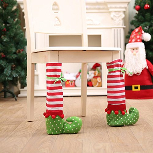 Morecome 1PCS Elf Foot Chair or Table Leg Covers Christmas Party Table Decoration for $<!--$1.39-->