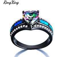 LALISA Womens Heart Cut Rainbow Topaz Wedding Ring Blue Fire Opal Black Gold Size 5-11 (7)