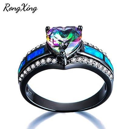Princess Cut White//Blue Fire Opal CZ Wedding Rings White Gold Jewelry Size 5-11