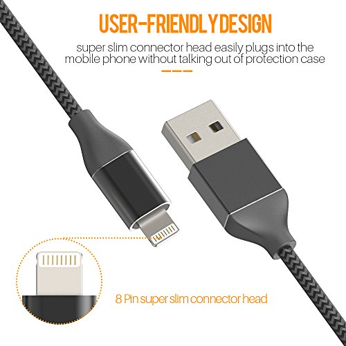 iPhone Charger,Lansen Lightning Cable 5Pack Nylon Braided iPhone Cable for iPhone X/8/8 Plus/7/7 Plus/6s/6s Plus/6/6Plus/5s iPad/-(Black Silver) by Lansen (Image #1)