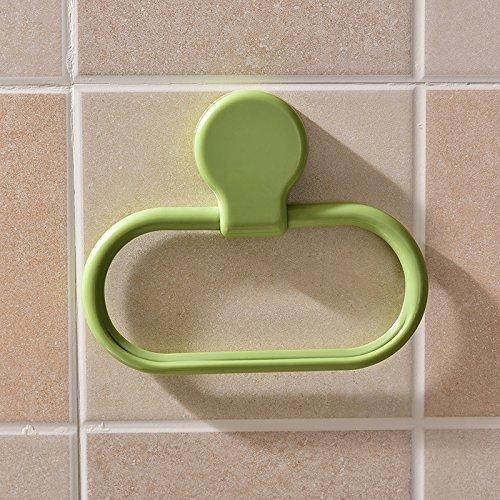 Sunsbell Home Living Punch-libero adesivo Titolare anello di tovagliolo Cucina Rag plastica portasciugamani parete appendiabiti Bagno accessori -Green
