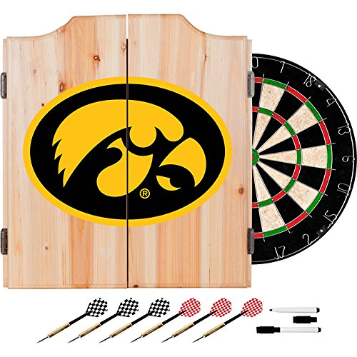 University of Iowa Deluxe Solid Wood Cabinet Complete Dart Set - Officially Licensed! by TMG