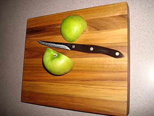 DISHWASHER SAFE All Heartwood Teak Cutting Board 12x10x 1.5 inch thick with - 1.5 Diamond Bowl