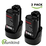 Munikind 2500mAh BAT411 Replace for Bosch 12V/10.8V Battery Lithium BAT420 BAT411A BAT412 2 Packs