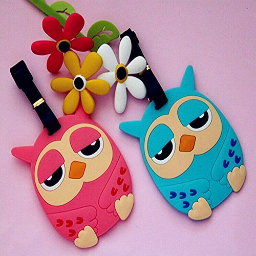 Adecco LLC Colorful Unique Owl Luggage or Backpack ID Tags (Set of 2 - One of Each Shown)