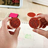 Potelin Wooden Rubber Stamp Round Shape Handwriting