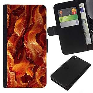 KLONGSHOP // Tirón de la caja Cartera de cuero con ranuras para tarjetas - tocino carne de cerdo dorar los alimentos crujientes - HTC DESIRE 816 //