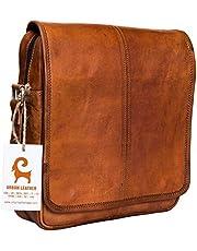 Urban Leather Vertical Messenger Sling Satchel Brown Bag Purse for Men Women Boys Girls Outing Travel Passport Handbag with Natural Textures, Size 12 Inch