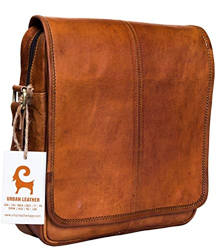 (Urban Leather 12 Inch Vertical Messenger Bag | Handmade Sling Satchel Brown Handbag Purse for Men Women Boys Girls Outing Travel Passport Bags with Natural Textures, Size 12 Inch)