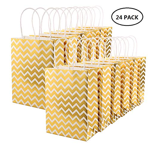 Birthday Personalized Favor Party - XNX 24 Pack Paper Gift Bags Party Favor Bags Personalized Gift Bags Recyclable Goodie Bags for Birthdays, Weddings, Baby Showers,Shopping. White(15 * 21 * 8cm) (Gold Wave)