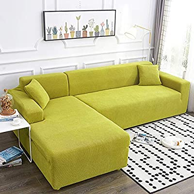 Stretch Sofa Slipcover 2 Piece Knitted Jacquard Sofa Cover L Shaped Sectional Couch Cover Slipcover Washable Furniture Protector Green L Shape 3 4 Seats Buy Online At Best Price In Uae Amazon Ae