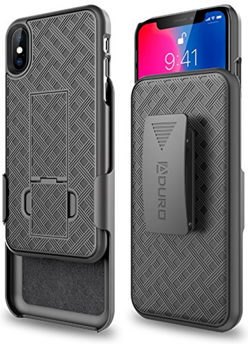 (iPhone X/XS Holster Case, Aduro Combo Shell & Holster Case - Super Slim Shell Case with Built-in Kickstand, Swivel Belt Clip Holster for Apple iPhone X/XS/iPhone 10 (2018/2017))