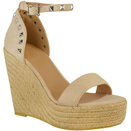 Hauts De Nu Plates De Coin Faux Clouté Chaussures Assoiffés Soirée Taille Sandales Mode Suède Travestissement formes Été Dames Talons qnXRxpAHw4