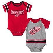 Outerstuff NHL Detroit Red Wings Children Unisex Definitive 2Piece Onesie Set, 12 Months, Heather Grey