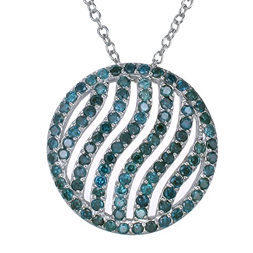 2.25 CT Blue Diamond Circle Pendant In Sterling Silver with 18″ Chain