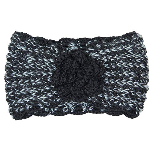 Me Plus Women's Winter Knitted Headband Ear Warmer Head Wrap (3 Styles Flower/Twisted/Checkered) (Flower-Black) by Me Plus