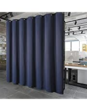 PANOVOUS Privacy Room Divider Curtain - Hide Clutter Separate Functions Grommet Top Room Divider Curtain Panel for Bedroom 120W x 96L Inch Navy