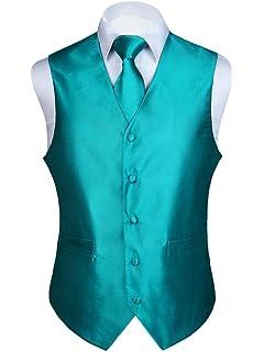 a4c6120b1e9b5 HISDERN Men's Solid Check Jacquard Waistcoat & Necktie and Pocket Square  Vest ...
