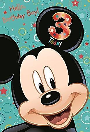 Amazon.com: Mickey Mouse 3rd tarjeta de cumpleaños: Office ...