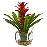 Nearly Natural 6897-RD Bromeliad with Glass Vase Arrangement P