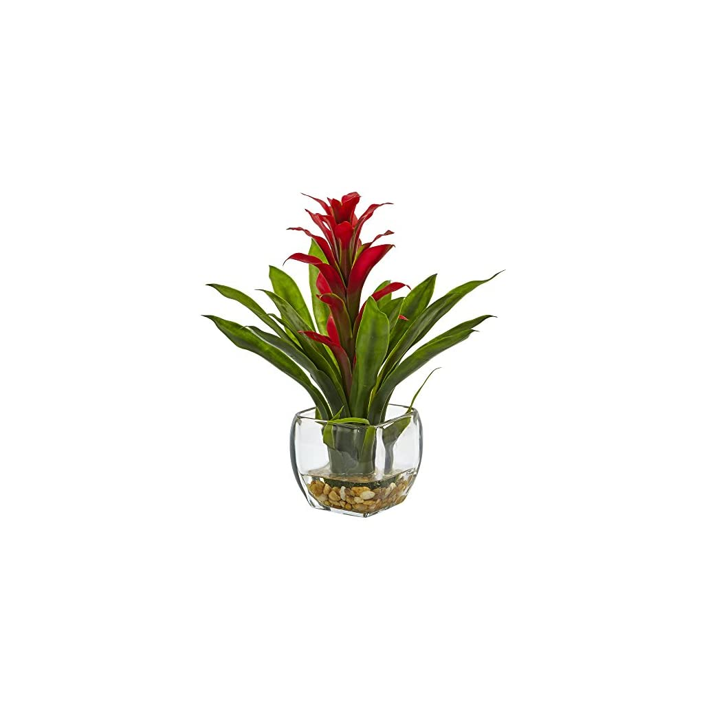 Nearly-Natural-6897-RD-Bromeliad-with-Glass-Vase-Arrangement-P