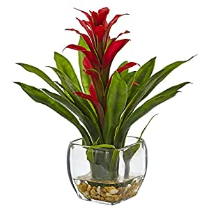 Nearly Natural 6897-RD Bromeliad with Glass Vase Arrangement, P 3