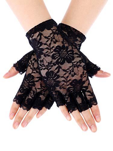Skylety Sunblock Fingerless Bridal Lace Gloves Short Floral Gloves for Women (Black 4) (Cirrus Pattern)