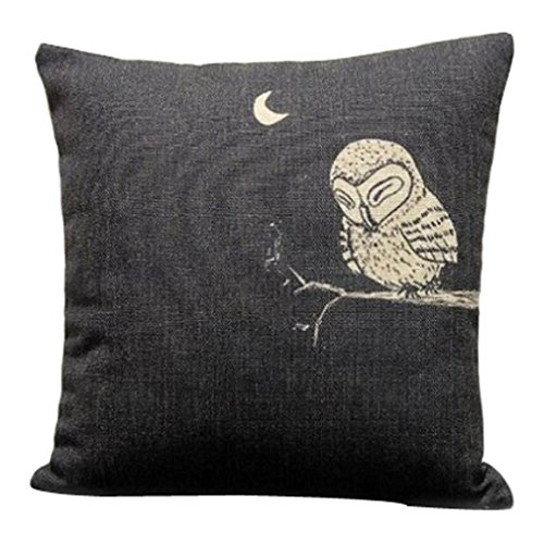 Onker-Cotton-Linen-Square-Decorative-Throw-Pillow-Case-Cushion-Cover-18-x-18-Owl-in-the-Dark