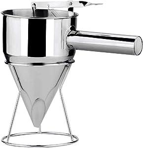 lzndeal Pancake Batter Dispenser,Stainless Steel Donut Cupcake Batter Dispenser Funnel Pancake Maker Helper Rack Spring-Loaded Handle