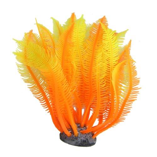 Sourcingmap Dekopflanze für Aquarien, künstlich, Silikon, Orange/Gelb