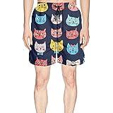 XULANG Mens Guys Whiskers Cat Faces Beach Shorts Jogging Summer Funny Boardshorts