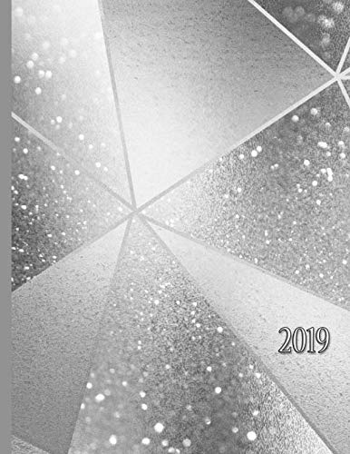 Geometric Silver Glitter Effect with Dividing Lines: 2019 Schedule Planner and Organizer / Weekly -