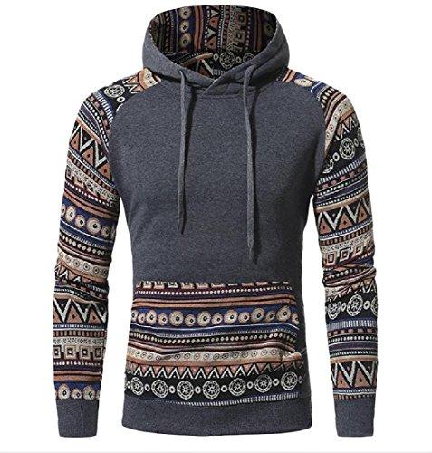 Abetteric Men's Hooded Stitching Sweatshirt Long Sleeve African Pullover Dark Grey L