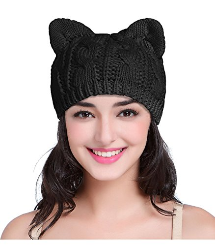 V28 Women Men Girls Boys Teens Cute Cat Ear Knit Cable Xmas Hat Cap Beanie Kittenear Black Medium]()