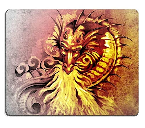Mouse Pad Gaming Mouse pad Natural Rubber Mouse mat Sketch of Tattoo Art Fantasy Medieval Dragon with White fire -