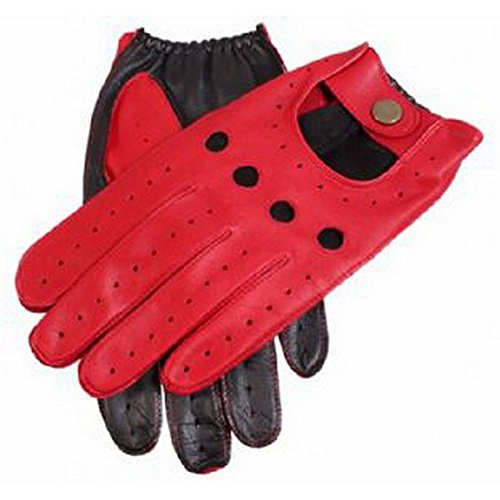 (Dents Mens Berry Leather Two Tone Driving Gloves - Red/Black - Medium)