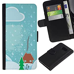 For Samsung Galaxy S6 SM-G920,S-type® Drawing Kids Christmas Snow Blue - Dibujo PU billetera de cuero Funda Case Caso de la piel de la bolsa protectora