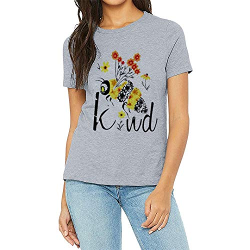 XVSSAA Women's Short Sleeve Letter Flowers Print T-Shirt, Ladies Solid Color Comfort Casual Blouse Top Gray
