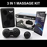 Rocky Workout 3in1 Massage Kit to Release Tension in Muscles, Reduce Muscle Stiffness, self myofascial Pain Relief with high Density EVA Foam Yoga Block to Improve Poses